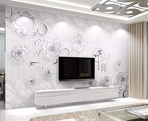 Fototapete 3D Effekt Vliestapete Paket Platinschmuck Relief Blume Weich Tapete 3D Wandtapete Moderne Wanddeko Wandbilder