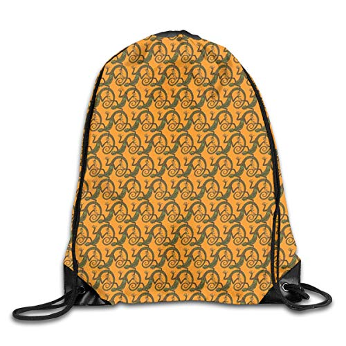 PPOOia Drawstring Backpacks Bags Daypacks,Lizard Pattern with Ethnic Motifs Triangles and Circles On Warm Backdrop,5 Liter Capacity Adjustable for Sport Gym Traveling -