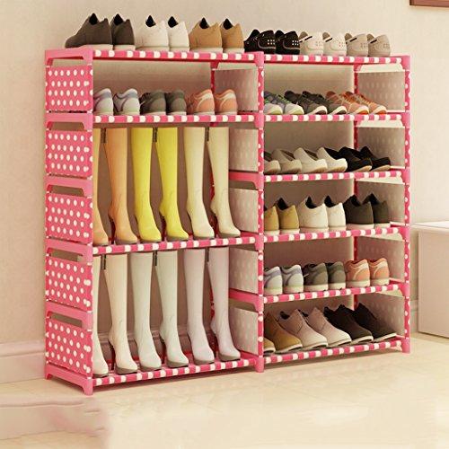 Grand Chaussure Organisateur en Acier Inoxydable Boîte À Chaussures Pliable Organisateur Stockage Stand 6 Rang De Stockage Titulaire pour Bottes Shoes120 * 85 * 30 Cm (Couleur : Rose)