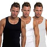 Hombre Entallado 100% Chalecos Algodón Pack de 6 - negro/gris/blanco, Medium