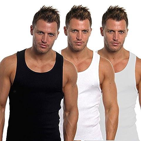 hommes Ajusté 100% coton gilets Lot de 6 - Noir/gris/blanc, Large