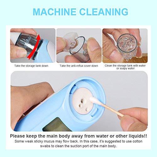 DEYACE Baby Nasensauger, Elektrischer Nasenreiniger mit LCD - Bildschirm und Licht sicher hygienisch für Neugeborene und Kleinkinder - 3 Stufen | 2 Größen Silikonspitzen | Farbiges Licht | Musik (Blue) - 8