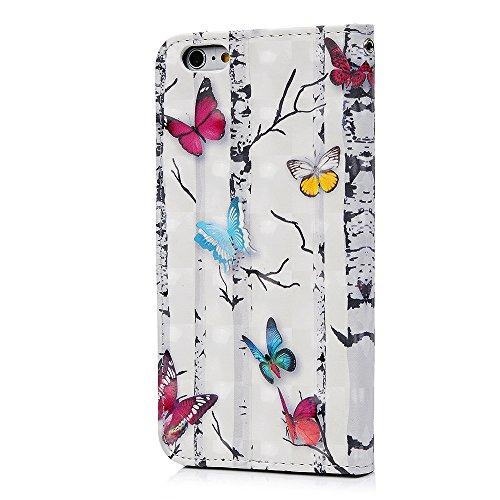 Lanveni Handyhülle für iPhone 6 Plus / iPhone 6S Plus Hülle Flip Case Cover PU Lederhülle Schutzhülle Magnetverschluss Ledertasche mit Stander Function Brieftasche Card Slot Handy Tasche mit Bunte Mus Farbe 5