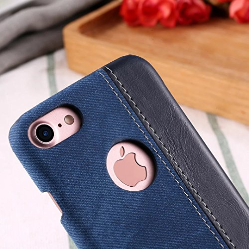 EKINHUI Case Cover IPhone 7 Fall-Abdeckung, Cowboyjeans-Beschaffenheits-Muster-harte lederne Plastikrückseiten-Abdeckung für IPhone 7 ( Color : Brown , Size : IPhone 7 ) Blue