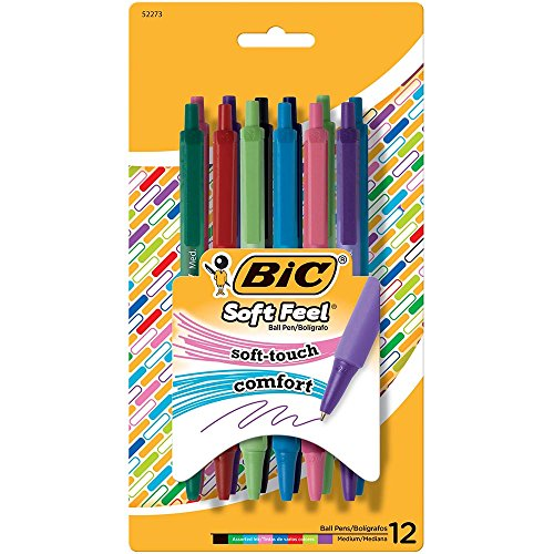 BIC Retractable ballpoint pen with soft touch, medium tip (1,0 mm), assorted colors, 12 units