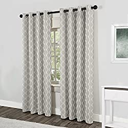 Exclusive Home Baroque Textured Linen Look Jacquard Grommet Top Window Curtain Panels 54 X 96, Dove Grey, Sold as Set of 2 / Pair by Exclusive Home Curtains