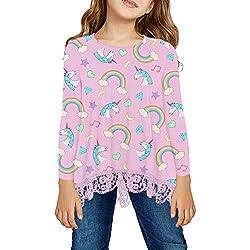 storeofbaby Blusas de Manga Larga para niñas Unicornio Camisetas Blusa Rosa S