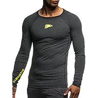 LEIF NELSON Herren Sweat-Shirt | Fitness-Sweatshirt für Männer | Gym-wear Langarm-Shirt Trainingsshirt Slim Fit Kleidung Männer