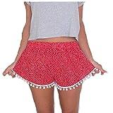 Damen Hot Pants,Xinan Sommer Hohe Taillen Kurze Hosen (M, Rot)