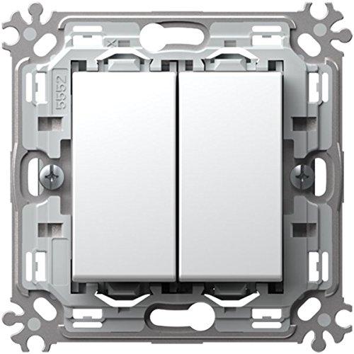 TEM Schalter Aus/Wechsel Doppelt 16AX 250V~2M Weiss (Moderne Doppel-wechsel)