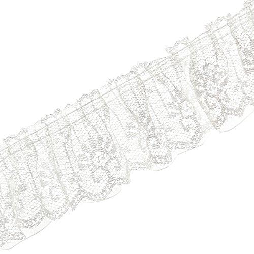 (10M *5CM Spitzenband Organzaband Faltenborte Nähen Dekoband Hochzeit DIY Basteln Weiss)