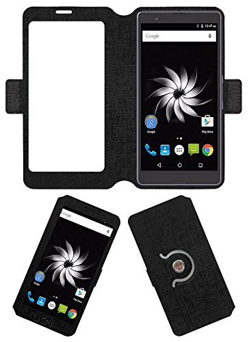 Acm SVIEW Window Designer Rotating Flip Flap Case for Yu Yureka Note Mobile Smart View Cover Stand Black