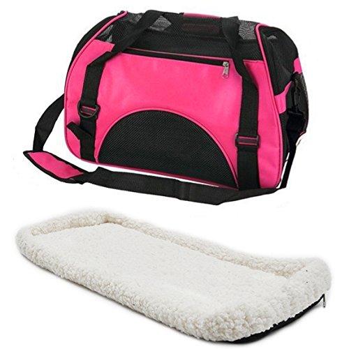 Hundetasche mit flauschiger Einlage und Schultergurt (pink)
