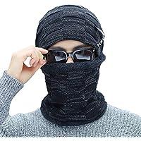 BLACK ELL Sombrero de Dama de otoño e Invierno para Hombre, Gorro de algodón de Punto para Hombre, abrigado y cómodo, Skullies ve, 1