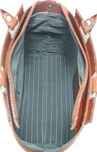CTM Borsa Donna a Mano Elegante da Sera, 34x26x14cm, Vera Pelle 100% Made in Italy Marrone