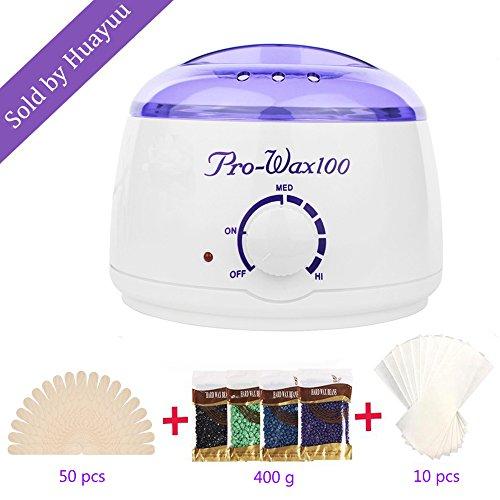 Wax Warmer HUAYUU Haarentfernung Waxing Kit Einstellbarer Temperatur Wax Warmer 80℃- 110℃Behälter 500 ml Flüssiges Wachs in nur 15 min (4 Hartwachsbohnen +50 Wax Sticks) für das Gesicht, Achseln, Hände - Zu Fuß Kit Zu Hause