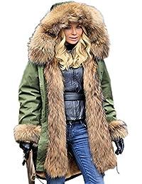 f38bc347486c Aofur Damen Mantel Lang Wintermantel Jacke mit Kapuze Warmes Fauxpelz Parka  Militärjacke Große Größen ...