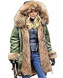 Aofur Damen Mantel Lang Wintermantel Jacke mit Kapuze Warmes Fauxpelz Parka Militärjacke  - Grün - 50 (XXXL)