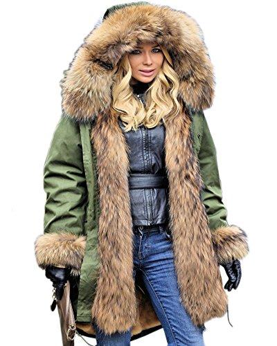 Aofur Damen Mantel Lang Wintermantel Jacke mit Kapuze Warmes Fauxpelz Parka Militärjacke  - Grün - 42/44 (L) (Winter Kleidung Damen)