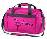 Sporttasche mit Namen | inkl. NAMENSDRUCK | Motiv Flamingo pink schwarz | Personalisieren &...
