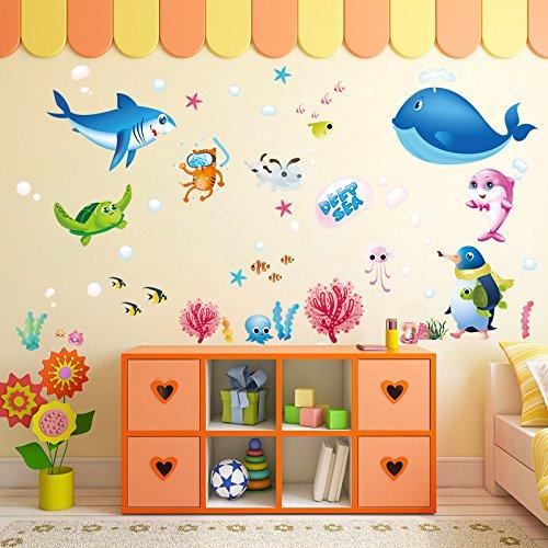 Cartoon Ozean Fisch Wandpaste Kinderzimmer Klassenzimmer Wohnzimmer Hintergrund Dekoration PVC abnehmbare Aufkleber