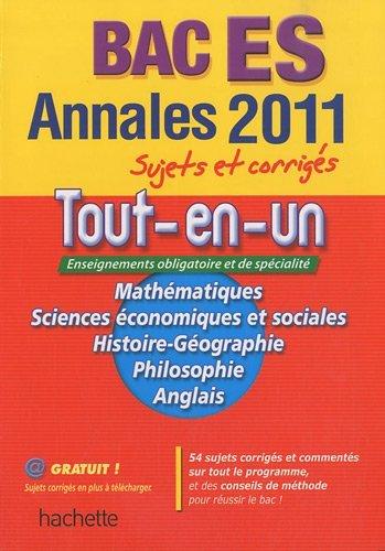 Annales tout-en-un Bac ES : Sujets et corrigés by Valérie Cornu (2010-09-01)