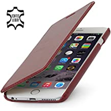 """StilGut Book Type sin cierre, funda exclusíva en piel auténtica para el iPhone 6 Plus & iPhone 6s Plus (5.5""""), en burdeos"""