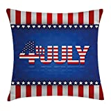 MLNHY 4th of July Throw Pillow Cushion Cover, Independence Themed Holiday Design with United States of America Flag Pattern, Decorative Square Accent Pillow Case, 18 X 18 Inches, Multicolor