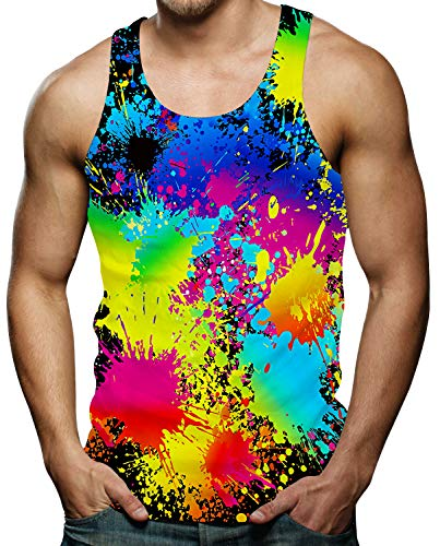 Mens Ärmellose Weste Colourful T-Shirts Paint Splatter Design Sommer Bequemer Holiday Beach Bunt Tank Tops Black M