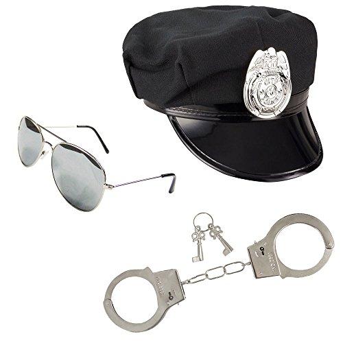 Polizistin-Kostüm - Damen - Polizei-Kostüm-Zubehör für Frauen - Schwarz