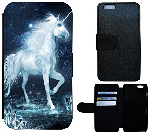 iPhone 5 / 5s Cover Schutz Hülle (Einhorn Pferd Fantasy Blau Weiß)