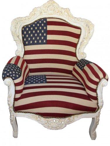 Barock Sessel King USA Design/Creme 85 x 85 x H. 120 cm - USA Barock Sessel
