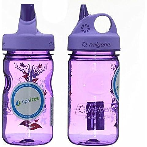 Nalgene Tritan Kid's Grip-n-gulp Water Bottle 12oz Purple Hoot Design 7.5 Inches Tall By 3 Inches in Diameter by