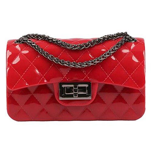 BYD Donna Borse a tracolla Mini Borse a mano e a spalla Da Women Borse Tote PU Pelle Borsa a Tracolla Fashion Sacchetto della catena modello di griglia metallica(rosso)