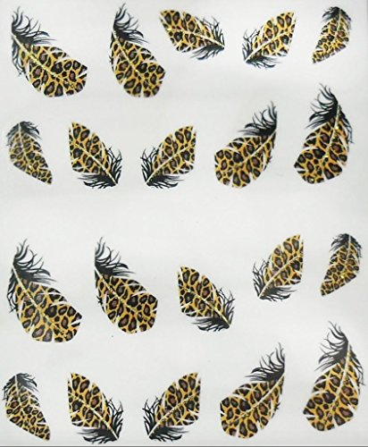 Nail art manucure stickers ongles décalcomanie scrapbooking: Plumes léopard - marron et noir liseré doré