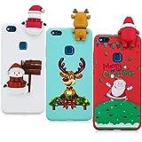 YKTO Hülle Huawei P10 Lite Case 5.2 Zoll 2017 3D Weihnachten Handyhülle [3 Stück] Stoßfest Weich Silikon Schutzhülle Weihnachten Motiv Handytasche für HuaweiP10 Lite