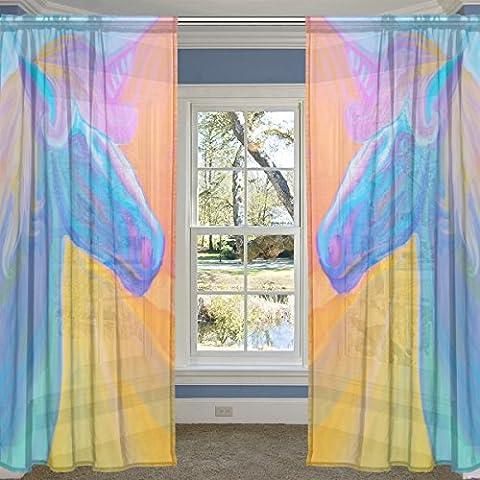 coosun Rainbow Portrait Of Magic Einhorn Sheer Vorhang Einsätze Tüll Polyester Voile Fenster Behandlung Panel Vorhänge für Schlafzimmer Wohnzimmer Home Decor, 139,7x 213,4cm, 2Platten Set, Polyester, multi, 55x84x2(in)