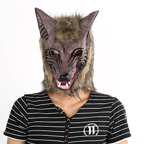 (Gugutogo Latex Tier Wolf-Kopf mit Haarmaske Kostüm-Party Scary Halloween)