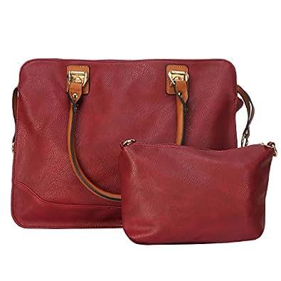 Fiona Trends Women's Maroon PU Zipper Shoulder Bag (Y-012_Maroon)