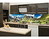 Küchenrückwand Folie selbstklebend GEBIRGE 260 x 60 cm | Klebefolie - Dekofolie - Spritzchutz für Küche | PREMIUM QUALITÄT