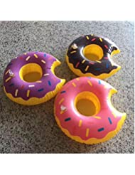 Donut Inflatable Pool Cup Holders, Floats Boats Pool Floats Inflatable Floating Coasters pour Pool Party Water Fun (Donut 3 pack)