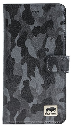 Solo Pelle iPhone 7 Plus / 8 Plus abnehmbare Lederhülle (2in1) inkl. Kartenfächer für das original iPhone 7 Plus / 8 Plus ( Vintage Lila ) inkl. Edler Geschenkverpackung Camouflage Grau