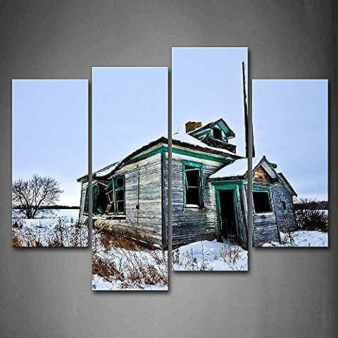 Log Cabin sur le terrain avec Snow autres à peinture d'art mural La Photo sur toile de lin City photos pour Home Decor Décoration Cadeau