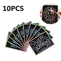 Zkm 10PCS Patterned Scratch Art Paper Magic Painting Paper with Drawing Stick Kids Toy Education Drawing Toys