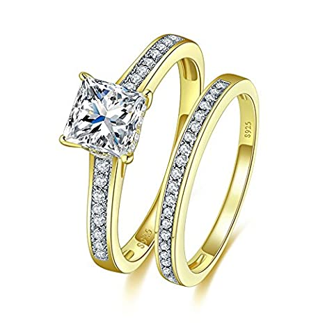JQUEEN 1.35ct 18K Gold Plated on solid 925 Sterling Silver Princess Cut CZ Bridal Rings Set (O)