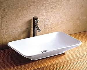 Vasque rectangulaire à poser sur un meuble de bain 68,5x40x12,5 cm en céramique