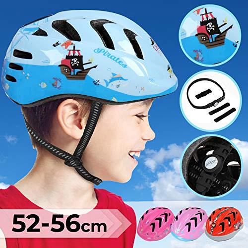 Physionics Kinderhelm für Jungen und Mädchen - Kopfumfang: ca. 52-56 cm, inkl. Einstellrad zur Anpassung, Schlagfest - Fahrradhelm, Kinderfahrradhelm, Fahrrad Radhelm, Helm Bike (Pirates)