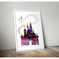 Disney inspirierte Aquarell Poster - Cinderella Castle - Zitat - Alternative TV / Movie Prints in verschiedenen Größen (Rahmen nicht im Lieferumfang enthalten)