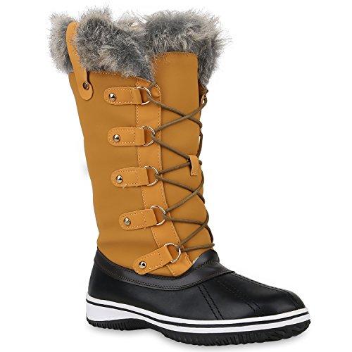 Damen Winterstiefel Warm Gefütterte Stiefel Strass Winter Boots Schnee Schuhe Winterschuhe Profilsohle Snowboots Flandell Hellbraun