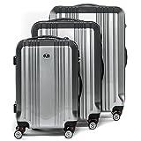 FERGÉ® Kofferset Hartschale 3-teilig Cannes Reise-Koffer Set leicht 3er Hartschalenkoffer Trolley Set (M L XL) 4 Zwillings-Rollen (360°) Hartschale Silber
